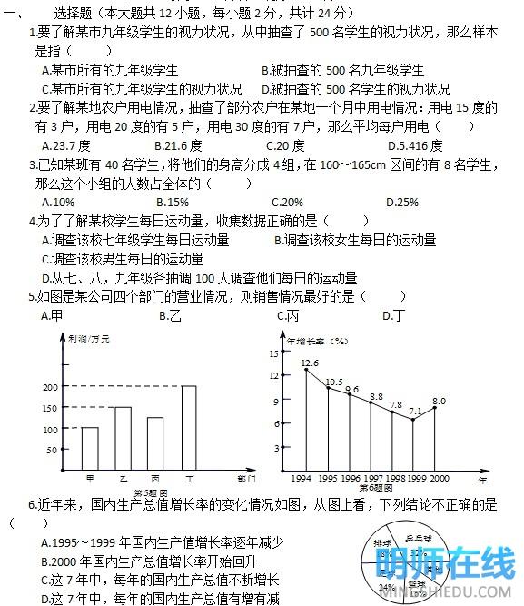初一人教版数学下册第十单元测验试题及答案5
