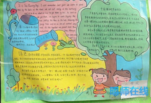 小学生植树节手抄报 植树节